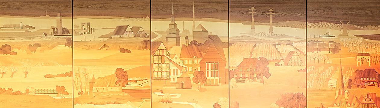 Der Landkreis Stade als Intarsiendarstellung  im Foyer des Kreishauses (Hans Georg Müller, Worpswede, 1986)
