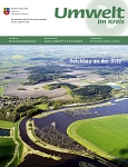 "Titel des Magazins ""Umwelt im Kreis 2015"": Aus der Luft stellen sich die neu geschaffenen Auenbereiche an der Oste besonders eindrucksvoll dar. © Landkreis Stade/Titelfoto:Thomas Schult"